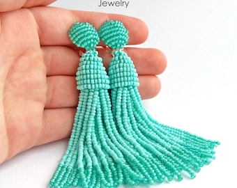 Luxurious Handmade Beaded Turquoise Tassel Clip on Earrings in the style of Oscar de la Renta. Custom colors available
