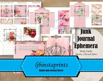 Shabby Chic Journal, Junk Journal Printable Cards, Shabby Note Cards And Envelopes, Instant Download