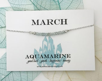 March Birthstone Necklace, March Birthday Gift, Birthstone necklace, Aquamarine Necklace, Healing Gemstone, Sterling Silver or Rose Gold