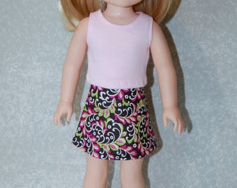 Pink Tank Top and skirt set handmade for 14.5 inch Wellie Wishers tkct1126 READY TO SHIP