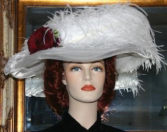 Kentucky Derby Hat Ascot Edwardian Downton Abbey Hat Edwardian Hat Ascot Hat Women's White Wide Brim Hat - Lady Katherine