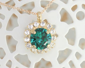 Emerald pendant necklace,gold emerald necklace,birthstone necklace,birthstone jewelry,birthstone christmas gift,chrismtas gift,gift for her