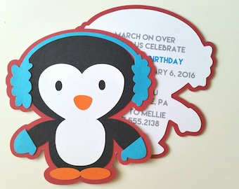 Penguin Party Invitation - Pack of 10 - Envelopes Included
