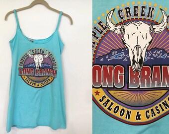 Vintage Buffalo Skull Colorado Casino Tshirt Mini Dress