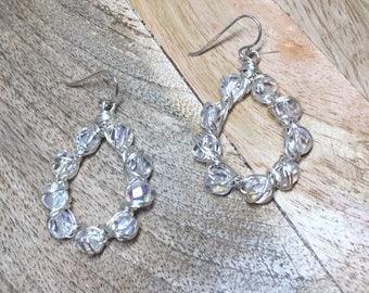 Wire Crocheted Earrings - Wire Wrapped Clear AB Czech Glass  Earrings
