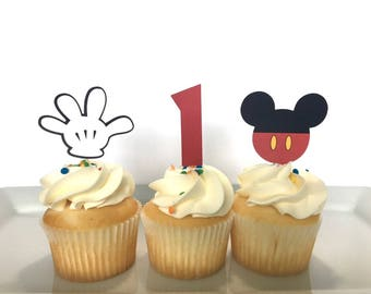 Mickey mouse Cupcake Toppers, 12  Mickey Birthday Party Cupcake Toppers - Mickey Mouse Birthday Party Decorations, Boy Cupcake Toppers