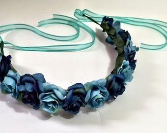 Blue Rose Flower Crown Turquoise Floral Halo Baby Shower Beach Wedding Wreath boho bohemian roses baby shower bride goddess