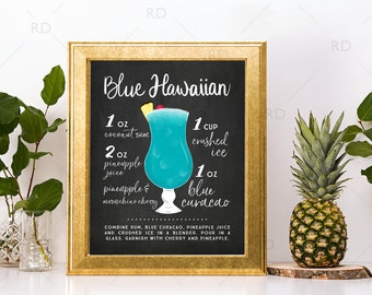 Blue Hawaiian Chalkboard Cocktail with Recipe - PRINTABLE Wall Art / Cocktails Mixed Drinks Wall Art / Hand Drawn Cocktails / Cocktail Print