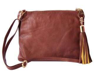 Soft Brown Leather Mini Crossbody, Brown Leather Shoulder Bag, Leather Festival Bag, Soft Brown Leather Pouch, Belt Bag, 2-Color Tassel