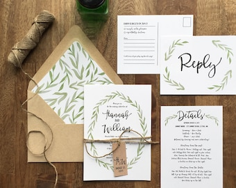 rustic wedding invitation, woodland wedding, painted watercolor wreath, green botanical wreath wedding invite, printed wedding invitations,