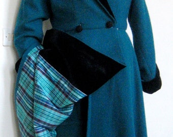 Teal collar and cuffs black velvet cashmere woolen coat