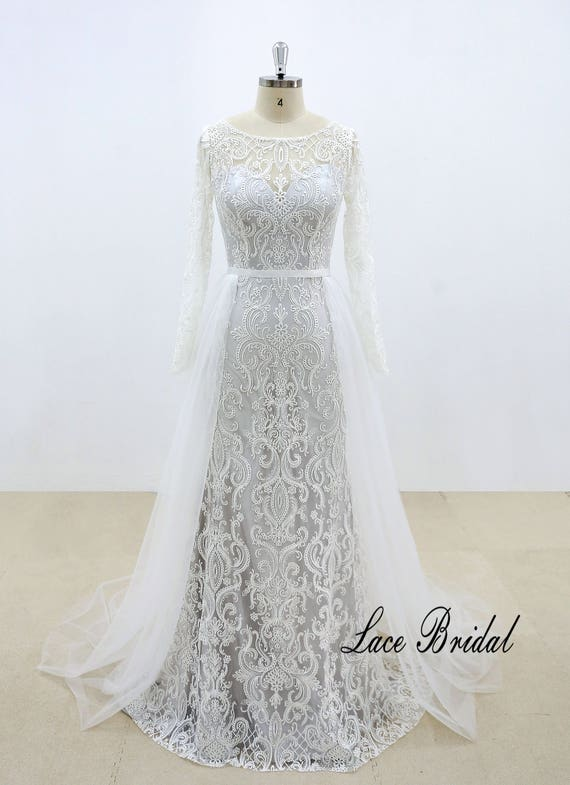 Vintage Style Lace Wedding Dress with Illusion Neckline and