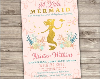 Mermaid Baby Shower Invitations NV906