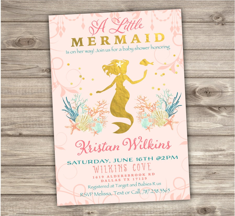 Rose Gold Mermaid Baby Shower Invitations Shabby Chic Little