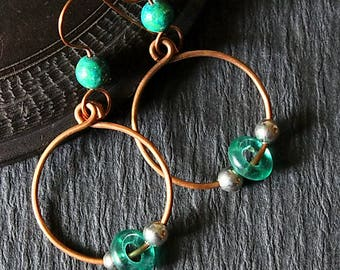 Rustic Copper Earrings, Boho Earrings Simple Copper Hoops Copper Earrings Bohemian Tribal Hippie Hoop Earrings Hippie Jewelry Boho Jewelry
