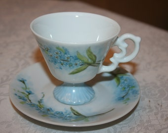 Vintage Hand Painted Delicate Cup and Saucer Blue, White Green Flowers Floral