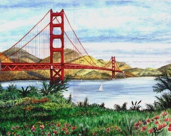 The Golden Gate Bridge, San Francisco, a scenic treasure from the original painting by Artist Roseann Madia