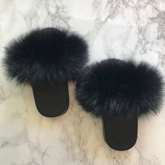 Sl Mini Fluffy Slides For Kids Name Blk Orchid Color Black