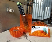 Orange Blown Glass Desk A...