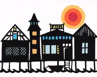 Fishing Village - 5 x 7 inch Cut Paper Art Print