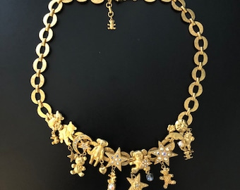 Kirks Folly Gold Choker Teddy Bears Swarovski Crystals Stars Modernist Wearable Art Costume Jewelry Gold link Necklace 80s 90s