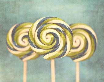 Three Lollipops, food photography, still life photography, dreamy candy photography blue green