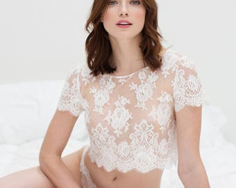 Rosa French Lace Bridal Crop Top Blouse in off-white