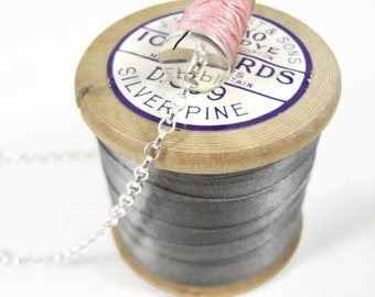 Hand crafted sterling silver large spool necklace with hand wound vintage cotton thread