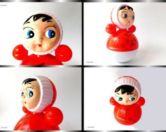 Roly Poly, matryoshka doll, celluloid, nevalyashka, musical, vintage, made in Soviet Union, nostalgia, curiosity, for collectors, 1960, USSR