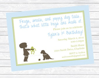 Frogs Snails and Puppy Dog Tails Printable Invitation