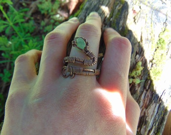 Handmade Wrapped Adjustable Snake Ring with Green Aventurine