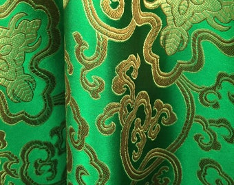 Adelaide GREEN GOLD Chinese Brocade Satin Fabric by the Yard - 10058