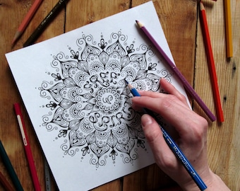 "Coloring Lettering Mandala ""Free Spirit"""