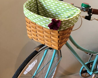 Green and White Bike Basket Liner