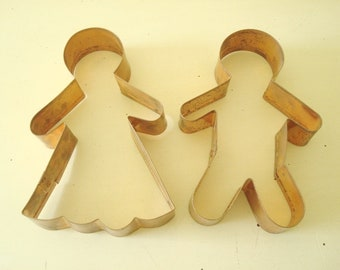 Vintage copper cookie cutters, Mr. and Mrs. Gingerbread man and woman, vintage baking supply