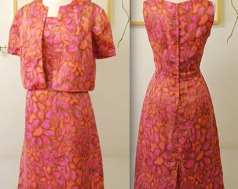 1960's Pink and Coral Floral Silk Jacket and Wiggle Dress Set / Mad Men / Rare Collectable Retro