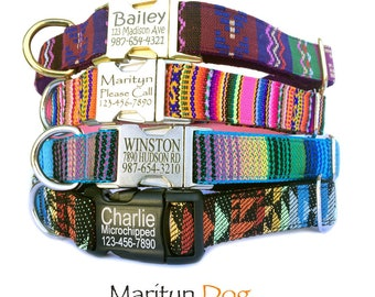 Dog collars Personalized Laser engraved metal black plastic buckle dog collar Dog id tag Boho Aztec embroidery dog collar  Boy dog collar