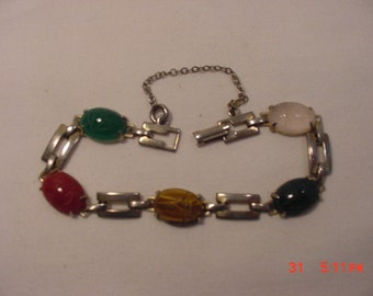 Vintage Scarab Bracelet With Safety Chain   18 - 809