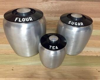 Vintage Brushed Aluminum Bakelite Lid Food Canisters