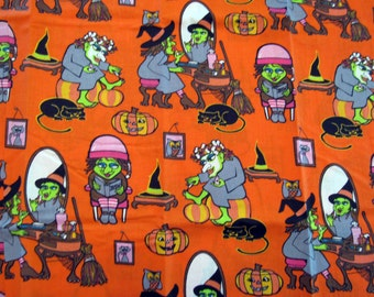 Fat Quarter Halloween Fabric Wicked Witch Beauty Parlor Spa Day Green Witch Hat Makeup Hair Dryer Broom Cat Rat Pumpkin - No Designer - OOP