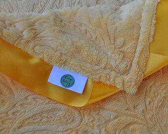 Cozy Wozy Paisley Minky Line Luxury Baby Blanket--Mango Yellow with satin trim