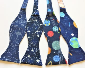 Astro Geek Celestial Bow Ties. Sold Individually: Totally Eclipsed, Cool Constellations, Colorful Planets, Satellites/Shuttles. Moon phases