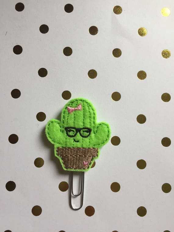 Cactus planner Clip/Planner Clip/Bookmark. Geeky planner clip
