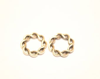 Round 14 mm plated silver rings, set of 10.