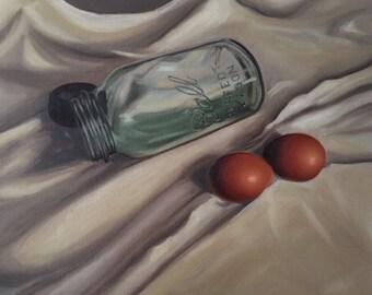 Oil painting mason jar eggs