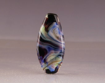 Lampwork Glass Focal Bead - tab bead in black and blue
