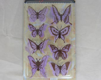 Sheet of stickers butterflies 3D purple background