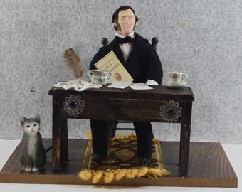 Ralph Waldo Emerson Diorama Scene Unique Art Bookshelf Decor