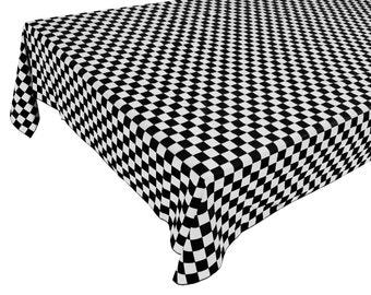 Cotton Table Cloth Checker Board Black