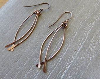 Long Dangle Copper Earrings - Mother's Day Gift - Textured Hammered Earrings - Boho Style Dangle Earrings - Simple Hammered Dangle Earring
